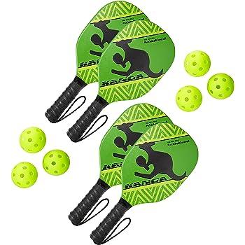 Swinger Pickleball Paddle Bundle 4 Paddle // 6 Ball Bundle - Natural Green Swinger Pickleball Paddle and Bundle Options Quality Durable Wood Racquet Set Inc Pickle-Ball Quality Durable Wood Racquet and Sets Inc