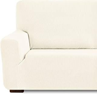 Eiffel Textile Funda de Sofa Monaco Elastica Adaptable Lisa, 94% poliéster 6% Elastano, Marfil, 3 Plazas