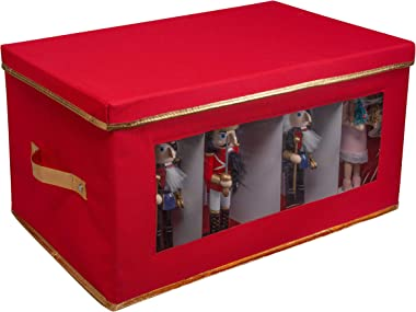 Simplify Holiday Figurine Box, 8 Individual Compartments, and Seasonal Storage for Christmas Statues, Nutcrackers, Elf, Santa & Religious, Red