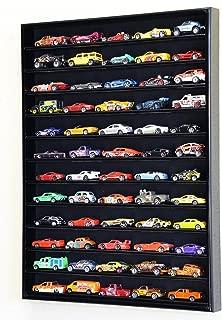 60 Hot Wheels Hotwheels Matchbox 1/64 Scale Diecast Model Cars Display Case - NO Door (Black Wood Finish)