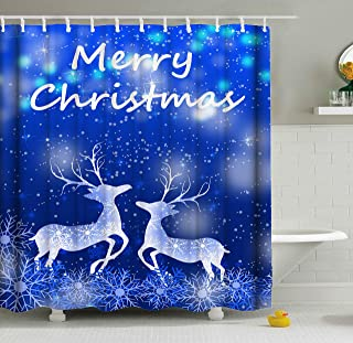 ShineSnow Christmas Deers Reindeer Snowflakes Winter December Seasonal Holiday Shower Curtain Set 60 x 72 Inches, Home Decor Bathroom Accessories Waterproof Polyester Fabric Curtains