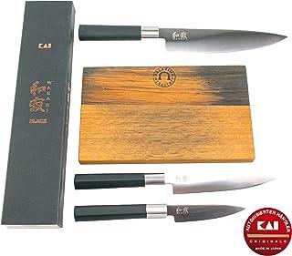 Kai Wasabi Black - Juego de cuchillos de cocina ultraafilados (20 cm, cuchillo de oficina de 10 cm, cuchillo multiusos de 15 cm y tabla de cortar de madera maciza)
