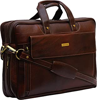 BRAND LEATHER Leather 15.6 Inch Brown Expandable Laptop Messenger Bag