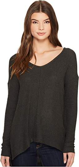 Brushed Sweater Rib High-Low Top