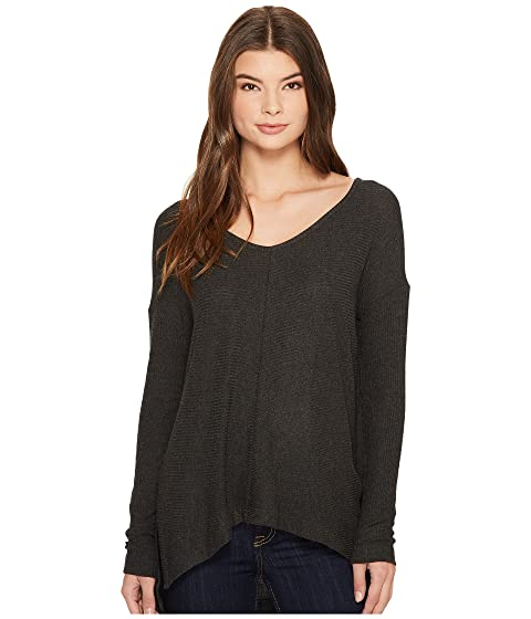 THREE DOTS Brushed Sweater Rib High-Low Top, Charcoal