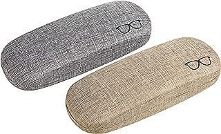 CM Pack of 2 Hard Shell Eyeglasses Glasses Case Linen Glasses Protective Case for Eyeglasses, Sunglasses