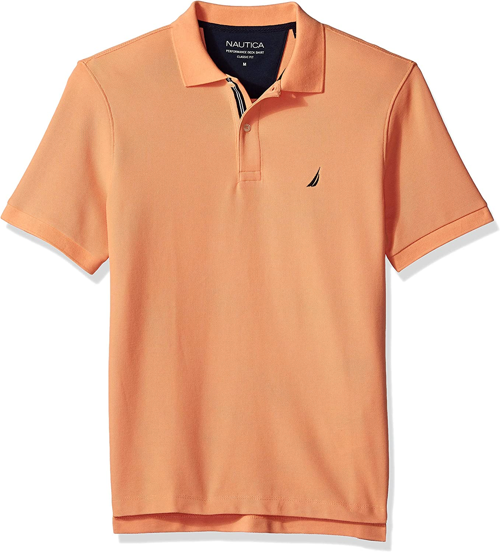Nautica Mens Classic Fit Short Sleeve Solid Performance Deck Polo Shirt Polo Shirt