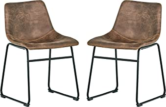 Rivet Mid-Century Modern Set of 2 Microfiber Bar Kitchen Counter Bar Stools 30.5 Inch Height, Brown