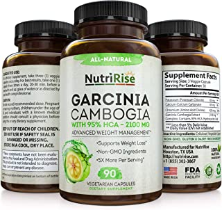 Pure Garcinia Cambogia Extract - with 95% HCA - Best Appetite Suppressant & Carb Blocker for Clinically Proven Weight Loss...