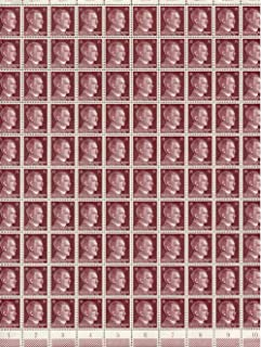 FULL AND COMPLETE GERMAN WWII HITLER HEAD STAMP SHEET OF 100 STAMPS 15 RPF VALUE. FULL GUM