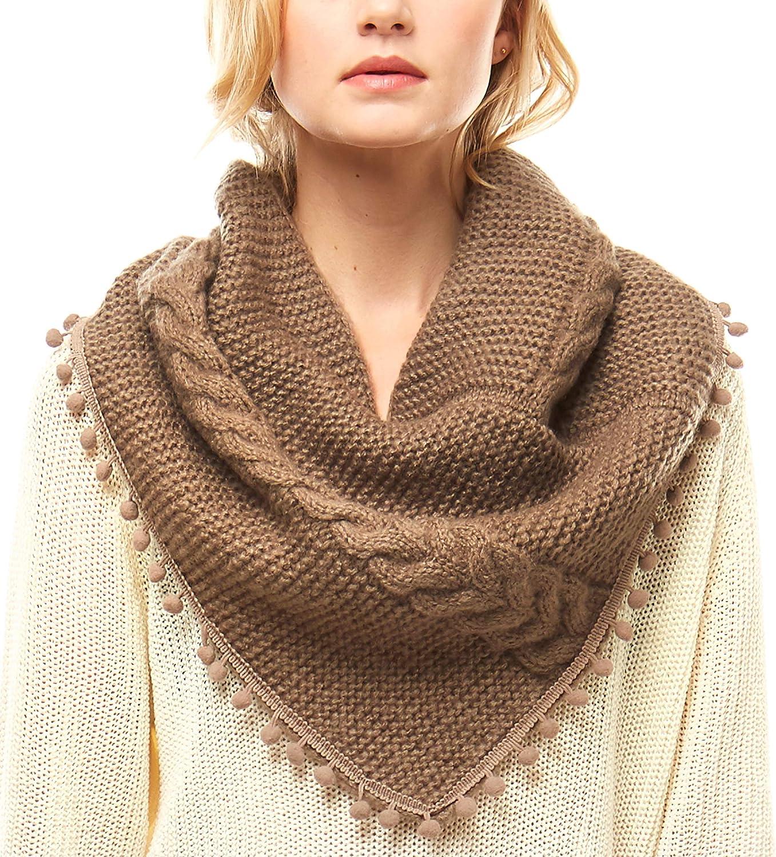 MIRMARU Women's Soft Warm Cable Knitted Loop Tube Infinity Scarf Wrap Shawl with Pom Pom Tassel