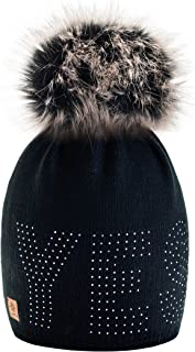 4sold® Yes Gold Girls Winter Hat Wool Knitted Beanie Fleece with Large Faux Fur Pom Pom Cap Ski Snowboard Hats Bobble One Size