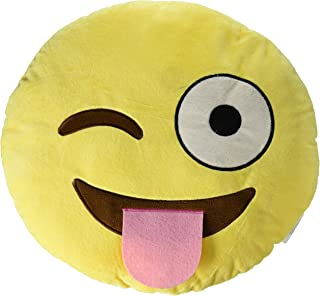 "13.8"" Emoji Smiley Naughty Emoticon Round Cushion Pillow Stuffed Plush Soft Toy"