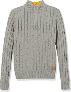 Boys' Sweater Long Sleeve Pullover Casual Zip Half Placket Cable Knit Cotton Sweater