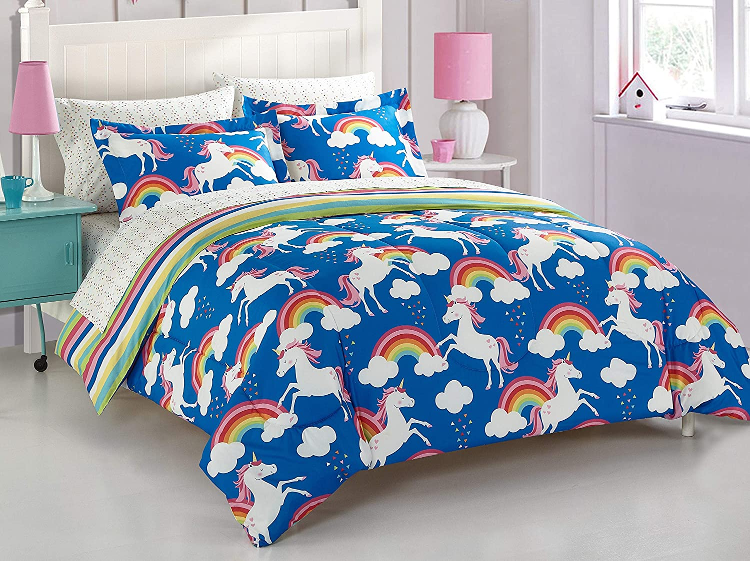 Casa Kids Rainbow and Unicorn Bed Ranking TOP8 A in Set Twin Bag Regular discount Blue