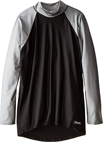Aeroskin Nylon Rashguard à Manches Longues avec Accents de Couleur, Noir Argent, 4x L