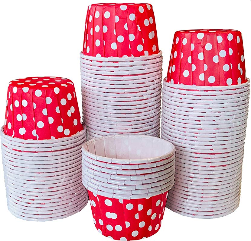 Bulk MINI Candy Nut Paper Cups Mini Baking Liners Red Polka Dot 100 Pack