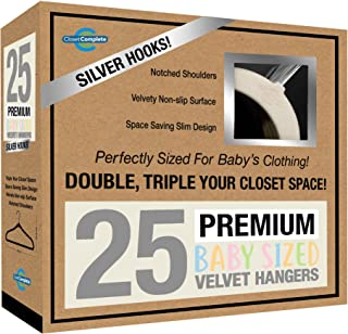 Best Closet Complete Baby Velvet Hangers, Premium Quality, True-Heavyweight, Virtually-UNBREAKABLE, Ultra-Thin, Space Saving No-Slip, Perfect Size for Babies 0-48 months 360° SPIN, Chrome Hook, Ivory 25pc Review