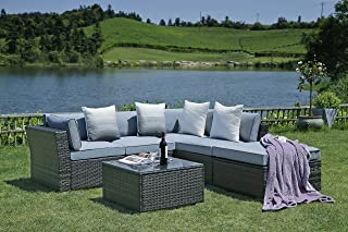 N&V Patio Furniture Set (6 Pieces) Modern Outdoor Furniture Sofas with Seat Cushions Pillows Tea Table Glass Top Lumbar Pad Blanket Fashion Couch Sets for Garden Backyard Pool (Gray)