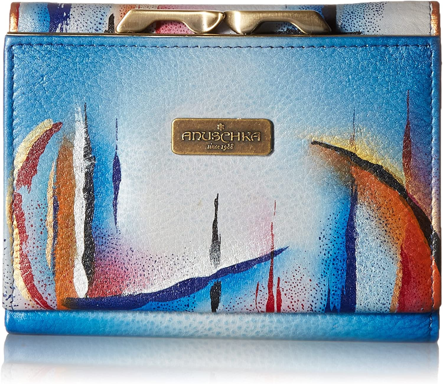 Anuschka Hand Painted Rfid Blocking Small Flap French Wallet Northern Skies Wallet, One Size