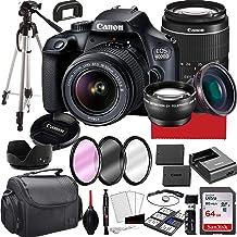 Canon EOS 4000D Cámara DSLR con lente de zoom 0.709-2.165in f/3.5-5.6, memoria de 64 GB, funda, trípode y más (paquete de 28 piezas)