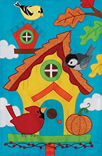 Custom Decor Whimsy Birdhouse - Garden Size, Emboidered Applique Style, Double Sided Decorative Flag - Approx. 12 Inch X 17.98 Inch