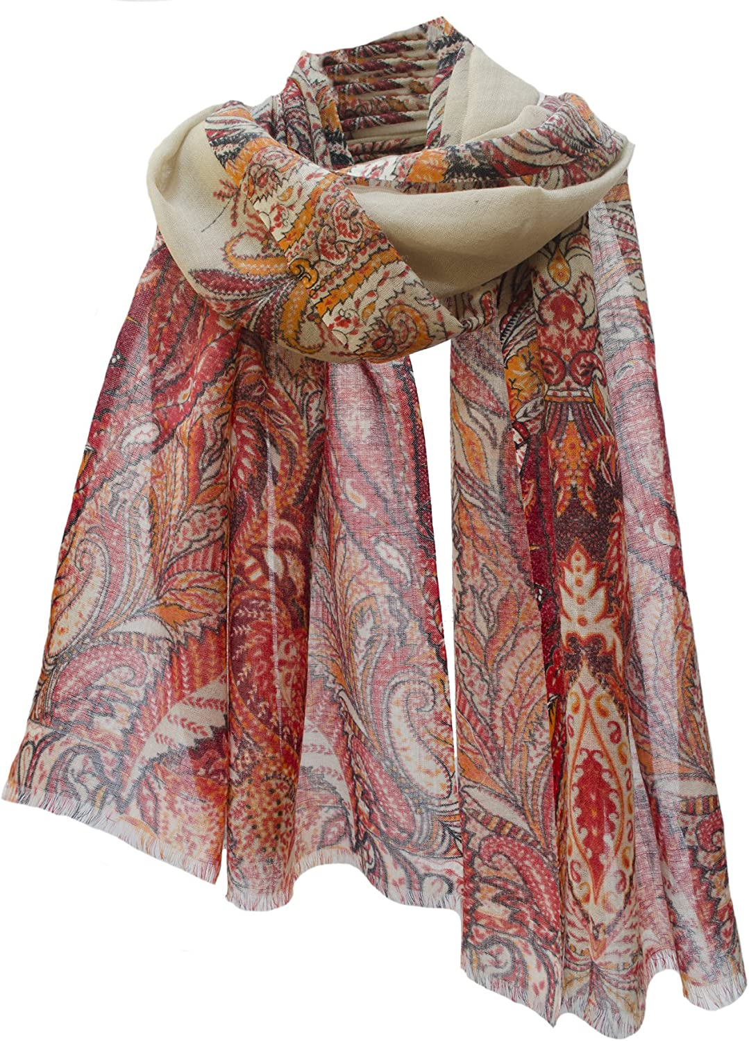 Paisley Leaf Border Lightweight Wool Shawl Scarf Wrap Stole Beige Burnt orange Red