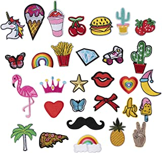 Patches - 30-Piece Assorted Applique Patches, Iron on or Sew on Patches, DIY Embroidered Patches, for Hats, Jackets, Shirts, Vests and Jeans Design, Assorted Design