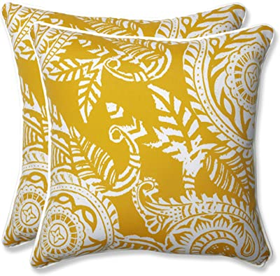 """Pillow Perfect Outdoor/Indoor Addie Egg Yolk Throw Pillows, 16.5"""" x 16.5"""", Yellow, 2 Pack"""