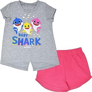 Baby Shark Girls Short Sleeve Graphic T-Shirt and Shorts Set