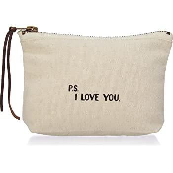 Mud Pie P.S. I Love You Cosmetic Bag, Off White