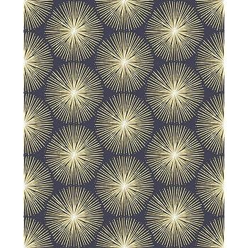 dise/ño hexagonal color azul marino y dorado textura met/álica Arthouse 906604 906604-Geo Papel pintado