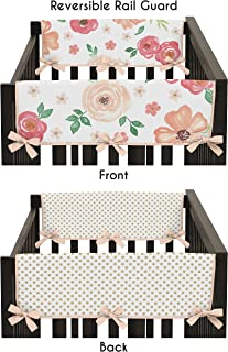 Sweet Jojo Designs Peach, Green and Gold Side Crib Rail Guards Baby Teething Cover Protector Wrap for Watercolor Floral Collection - Set of 2 - Pink Rose Flower Polka Dot