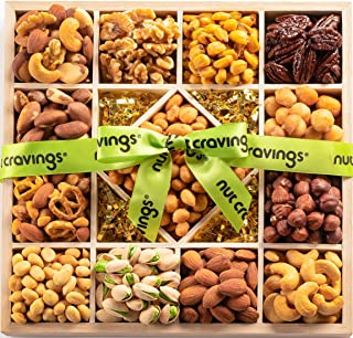 Gourmet Gift Basket, Fresh Nut Assortment Wood Tray (13 Mix) - Variety Care Package, Birthday Party Food, Holiday Arrangement Platter, Healthy Snack Box for Family, Women, Men, Adults - Prime Delivery