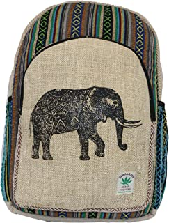 Mochila de Fibra de cáñamo/Mochila de cáñamo/Mochila de día de cáñamo/Mochila para la Escuela, Viajes, Ocio, Exterior, Deporte – con Compartimiento para Laptop - Modelo 150.1 Elefante