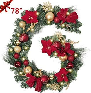 TFWell Christmas Garland with Lights, Pre-Lit 78 Inch Red Gold Christmas Door Garland, Decorative Garland with Artificial Spruce, Berries, Christmas Ball Ornaments, Battery Operated 20 LED Lights