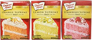 Duncan Hines Signature Cake Mix Bundle - Strawberry Supreme, Orange Supreme, Lemon Supreme 16.5oz (Pack of 3 Boxes) by Dun...