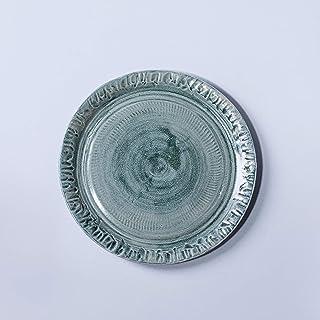 Cuenco de plato de cerámica vintage rústico hecho a mano decoración del hogar esmalte gris claro y turquesa texturizado