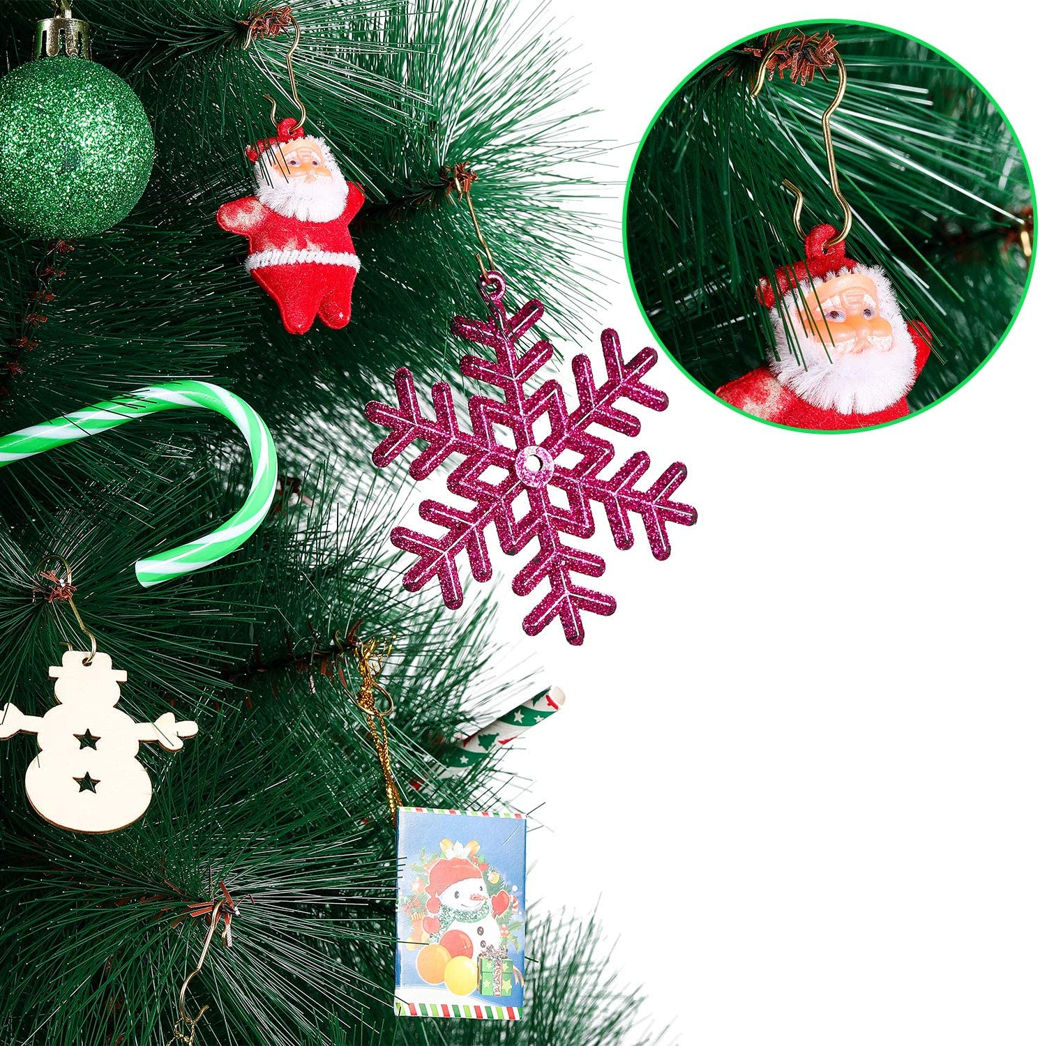 Gold,240 Pieces Ripeng Christmas Ornament Hooks Christmas Tree Ornament Hanger Metal Hanging Hook with Storage Box for Christmas Tree Decorations