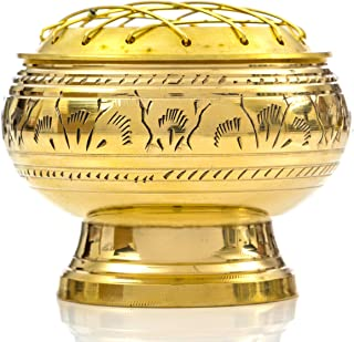 Alternative Imagination Beautiful Solid Brass Screen Burner with Artistic Carving and Wooden Coaster