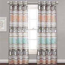 مجموعة ستائر معتمة نافذة لغرفة المعيشة وغرفة الطعام وغرفة النوم (زوج)، 213.36 سم × 132.08 سم، باللون الفيروزي والوردي