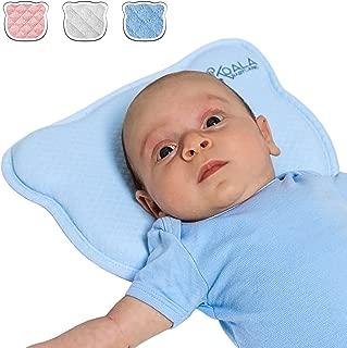 Almohada para Bebe para plagiocefalia desenfundable (con dos forros) para prevenir/curar la Cabeza Plana in Memory Foam Antiasfixia - KoalaBabycare® - Perfect Head - Azul