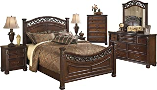 Ashley Leahlyn 6PC Bedroom Set Cal King Panel Bed Dresser Mirror Two Nightstand Chest in Warm Brown