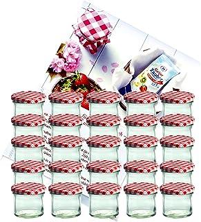 Lot de 25 bocaux de 125 ml + cro to 66 rouge à carreaux avec couvercle diamant sucre gelierzauber livret de recettes