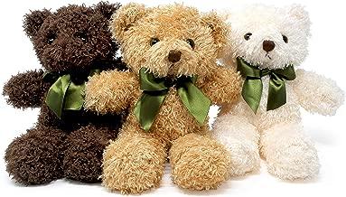 Fluffuns Teddy Bear Plush - Cute Teddy Bears Stuffed Animals in 3 Colors - 3-pack of Stuffed Bears - 9 Inch Height