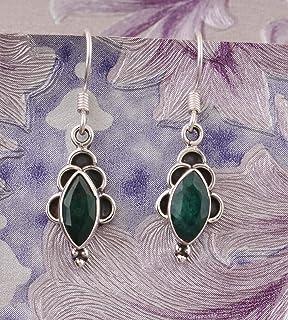 Pendientes colgantes, pendientes con esmeralda de color marquesa, pendientes colgantes, pendientes de plata para regalo de verano Sterling Silver Drop Earrings
