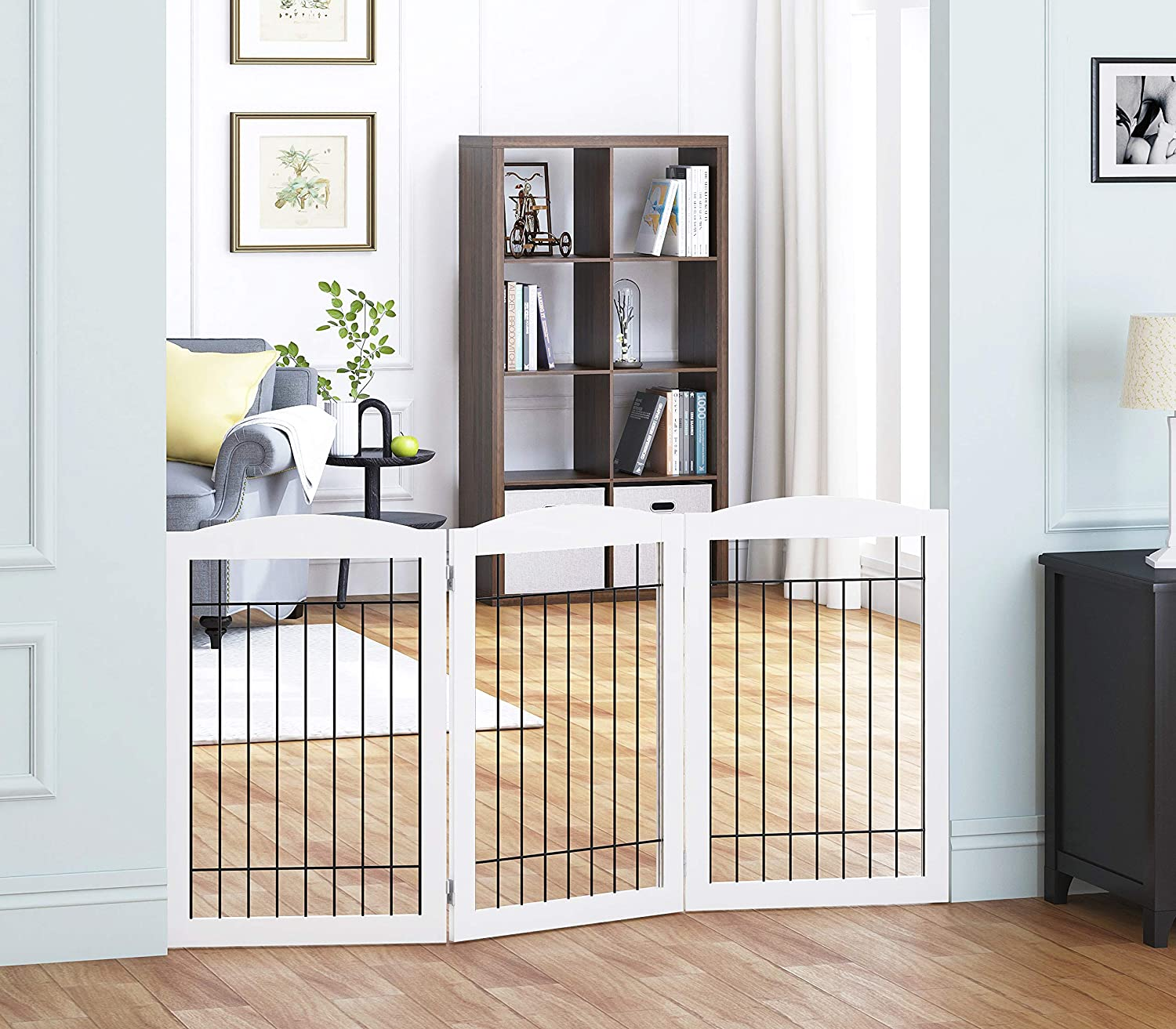 Spirich Freestanding Wire Pet Gate for Dogs, 60 inches Extra Wide, 30 inches Tall Dog Gate for The Houes, Doorway, Stairs, Pet Puppy Safety Fence, White- 3 Panels(No Include Support Feet)