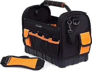 Internet's Best Open Top Tool Bag | Ultra Rigid Frame Tote Tool Box | 22 Pocket Hard Utility Tool Bin | 16 Inch