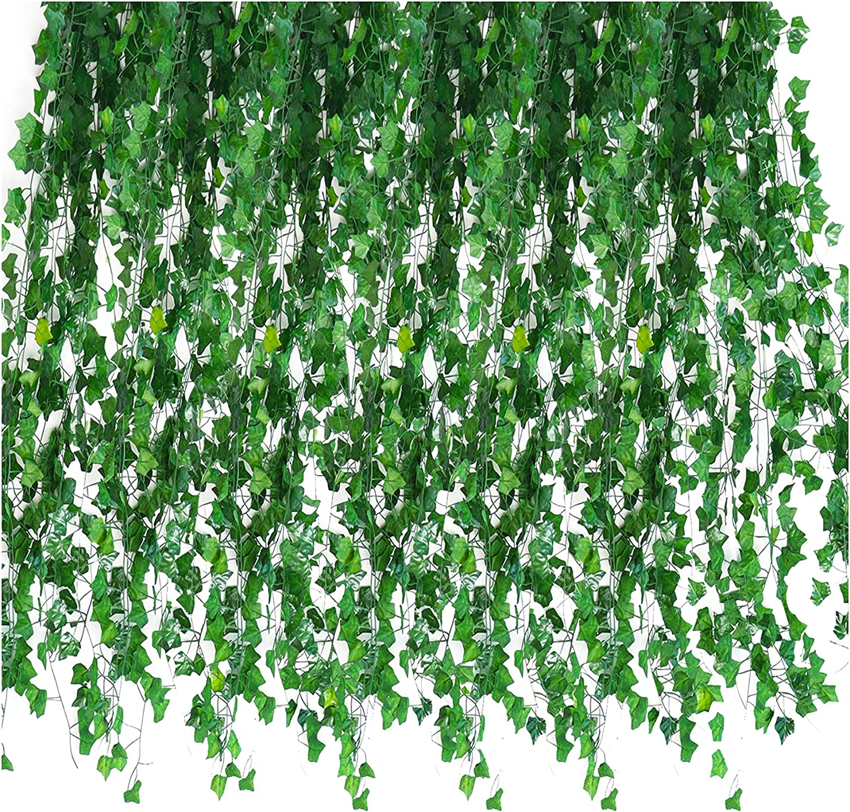 Quazilli 24Pcs 2.3M Plantas Artificiales Colgantes Pared,Enredaderas Artificiales Exterior&Extensible,Hiedra Artificial Celosia,Plantas Artificiales Decorativas Grandes,Jardin Vertical Artificial