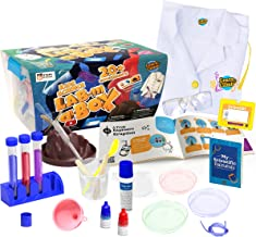 Learn & Climb Kids Science Kit with Lab Coat - Over 20 Science Experiments. Ages 4+ ( Color of Lab Coat Buttons May Vary)